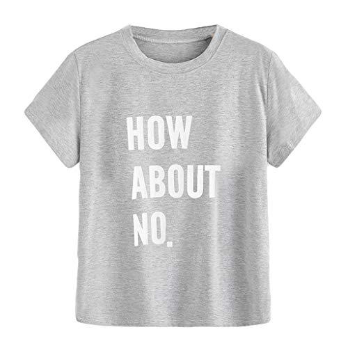 HYIRI How About NO Women's Letter Print T-Shirt Gray