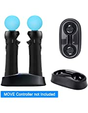 YOUSHARES Dual Charging Dock for Playstation Move Controller - Charging Station for Motion Gamepad with LED Indicator, Compatible to PS3 / PS4 Motion Controller, USB Powered (Black)
