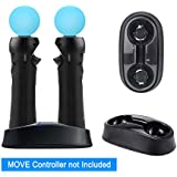 YOUSHARES Dual Charging Dock for Playstation Move Controller – Charging Station for Motion Gamepad with LED Indicator, Compatible to PS3 / PS4 Motion Controller, USB Powered (Black)