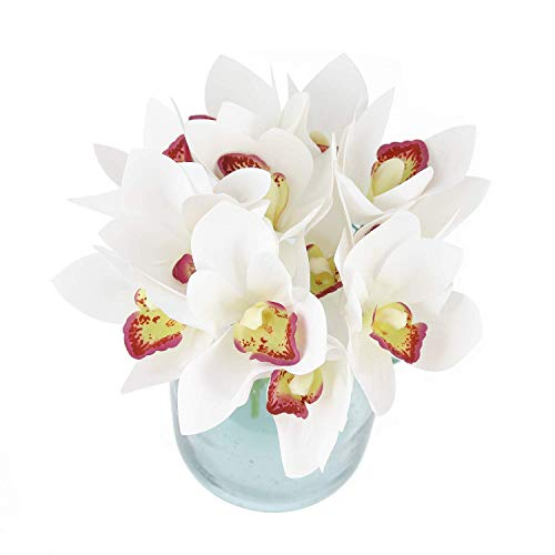 Blooming Paradise 2pcs Cymbidium Artificial Butterfly Orchid Silk Flower Home Wedding Phalaenopsis Bouquet Decor White (Orchid Wedding Bouquet)