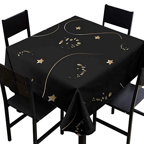 Table Cover for Dinner KitchenSeamless Pattern with Golden dots Paint Splashes Curves Circles Ink Brush etc Hand Drawn Design,W70 x L70 Square Tablecloth ()