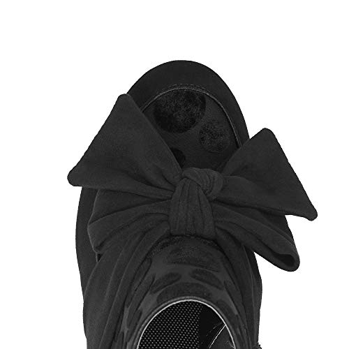 Black Ruby Mid Women's Bow Heel Boots Shoo Seren 1zq0rzw