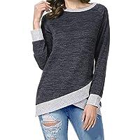 Odosalii Women's Round Neck Cross Front Hemline Blouse Patchwork Long Sleeve Casual Pullover Tunic Sweatshirt Tops