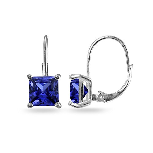 Sterling Silver Colored CZ Cubic Zirconia Princess-cut 7x7mm Leverback Dangle Earrings, One Pair Set
