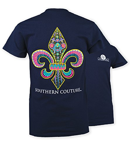 Southern Couture SC Classic Funky Fleur de Lis Youth Classic Fit T-Shirt - Navy, Youth Medium