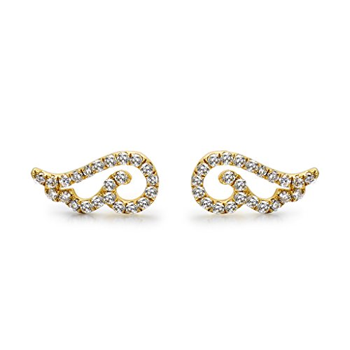 TARA Legacy 14k Gold Diamond Angel Wings Earring (0.10cttw, G-H Color, SI1-SI2 Clarity) (Diamond Wing Earrings)