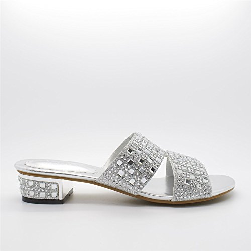 London Schuhe Milly, Damen Sandalen mit Silber
