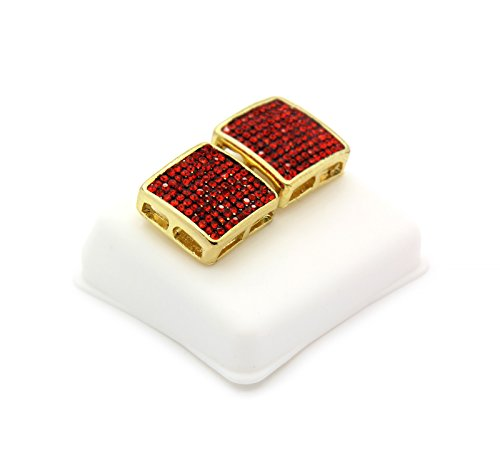 Mens 10 Rows Gold Tone Red CZ Micro Pave Dome Square Earring D10 ()