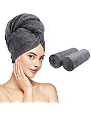 Sunland Microfiber Hair Towel Wrap for Women 2 Pack Super Absorbent Quick Dry Magic Hair Turban for Drying Long Hair