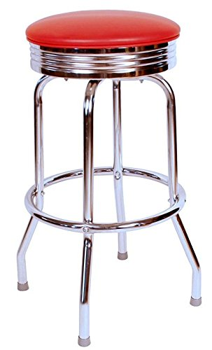 Richardson Seating Retro Chrome Swivel bar Stool with Seat Metal, 24 , Black