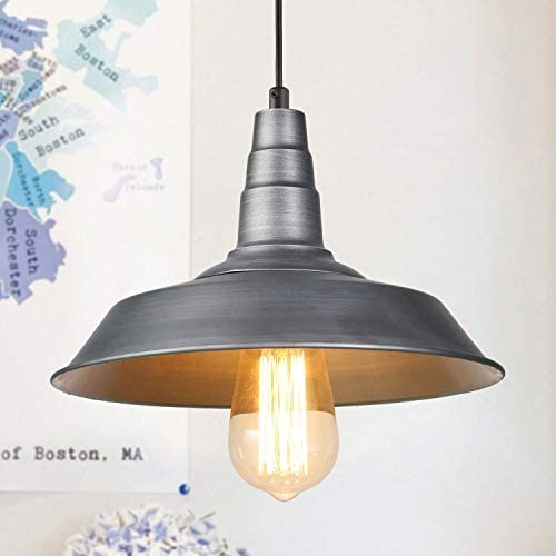 LALUZ Pendant Lighting for Kitchen Island, 1-Light Farmhouse Barn Pendant Industrial Silver Brushed Hanging Light Fixtures for Dining Room and Bedroom A03262