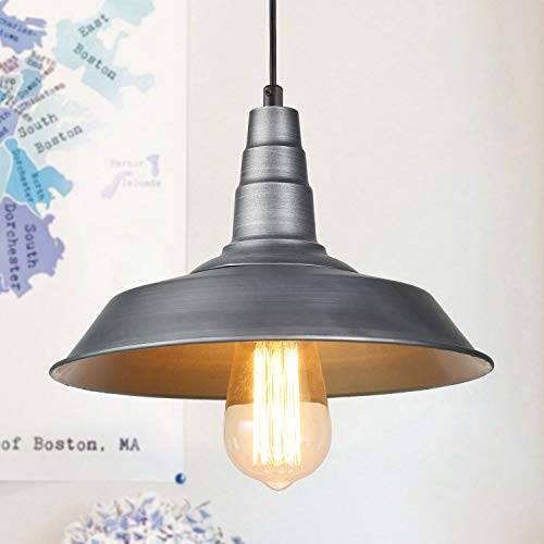 LALUZ Barn Pendant Light, 1-Light Farmhouse Kitchen Island Lamp Industrial Edison Pendant Ceiling Lighting Fixture, Silver -