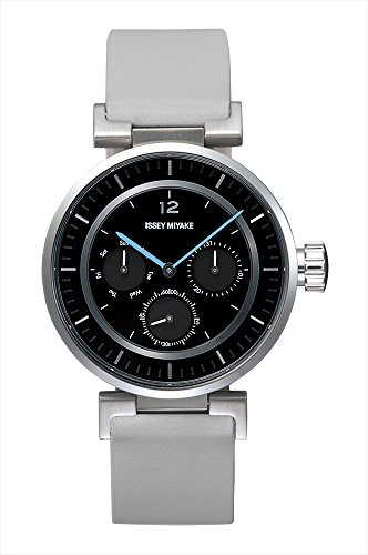 Issey Miyake W-Mini Black Face Grey Band Watch SILAAB05