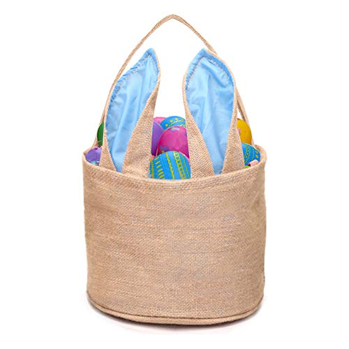DomeStar Jute Bunny Basket, Burlap Cloth Basket Jute Cotton Rabbit Bag Tote Bag Handbag Burlap Easter Bunny Bag for Picnics -