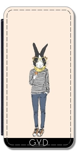 Leder Flip Case Tasche Hülle für Apple Iphone 7 / Iphone 8 - Hase Teenager-Mädchen by Olga Angelloz Design