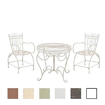 CLP Ensemble de Jardin en Fer Forgé Sheela - Set Meuble de Jardin 1 Table  et 2 Chaises en Fer Design Antique - Salon de Jardin en Fer - Couleur : ...