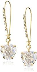 Betsey Johnson Pave Skull Cubic Zirconia Heart Long Gold Drop Earrings