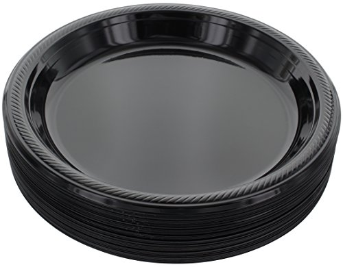 Amcrate Black Disposable Plastic Party Plates 10.4