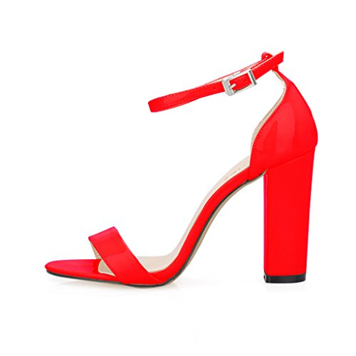 ZriEy Women's Chunky Block Strappy High Heel Pump Sandals Fashion Ankle Strap Open Toe Shoes Red ()