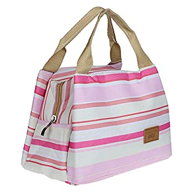 .com - ManxiVoo Thermal Insulated Lunch Box Tote Cooler Zipper Bag Bento Lunch Pouch Lunch Tote Lunch Bag (Pink) -