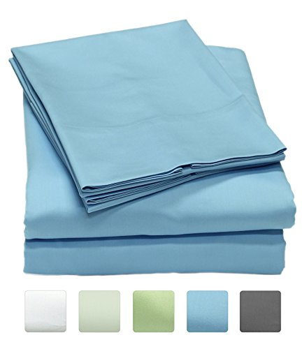Callista Full Size Bedding Sets |Extra Soft Sateen|Deep Pocket Wrinkle Free Full Sheets | 300 Thread Count Easy Fit, Breathable and Cooling Sheets |Luxury 4 Pc Full Bed Set - Blue