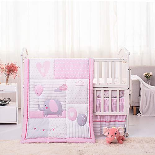 La Premura Baby Elephants Nursery Crib Bedding Set for Girls - Pink Elephant & Love Balloons 3 Piece Standard Size Crib Set, Pink & Gray