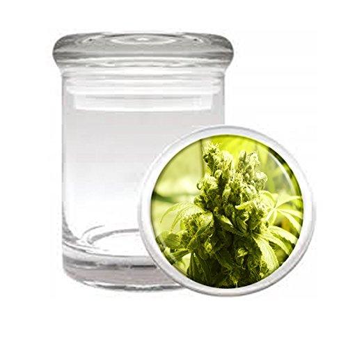 Medical Glass Stash Jar Vintage Marijuana Art S10 Air Tight Lid 3