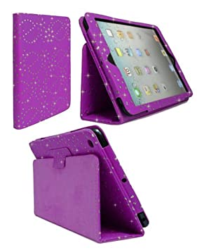 FOR APPLE IPAD 2 3 4 LILAC DIAMOND BLING GLITTER PU LEATHER CASE COVER