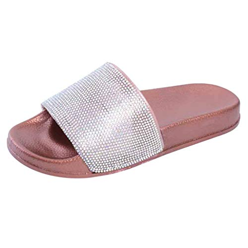 Womens Flat Slides Sandals Shoes, Sparkly Glitter Diamond Casual Slip On Slippers Flip-Flop for Indoor Outdoor Size 5-7.5 (Pink, US:5.5)