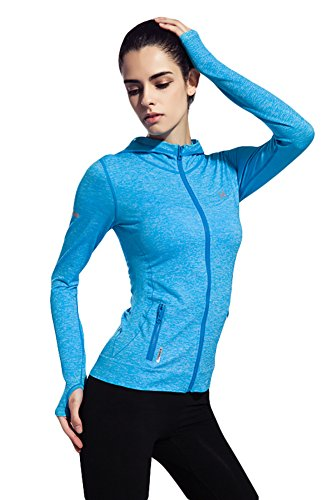 [Women's Stretchy Workout Dri-Fit Hooded Jacket ( blue, m)] (Athletic Works Jacket)