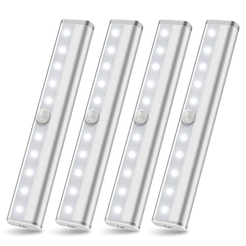 Wireless Under Cabinet Lighting Battery Powered LED Motion Sensor Lights, SZOKLED Cupboard Kitchen lighting, Closet Light, Under Counter Light, Stick On Night Lights Strip Bar for Stairs, White 4 Pack