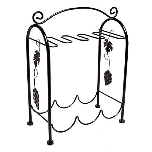 Tabletop Wine Glass Metal Home Kitchen Organizer Storage Rack Handle Grape Arbor Style Black #547