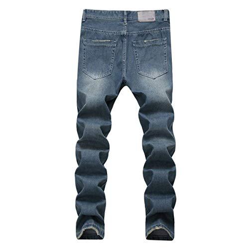 Strappati Pantaloni Denim Jeans A Blu Bassa Da Uomo Abbigliamento Attillati Skinny Vita FYrqwF