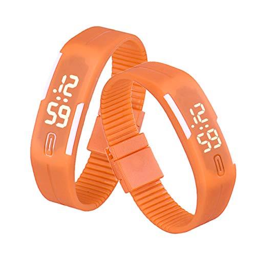 (Respctful✿Unisex Rubber LED Bracelet Watch Sports Wrist Gift Watch Resistant Digital)