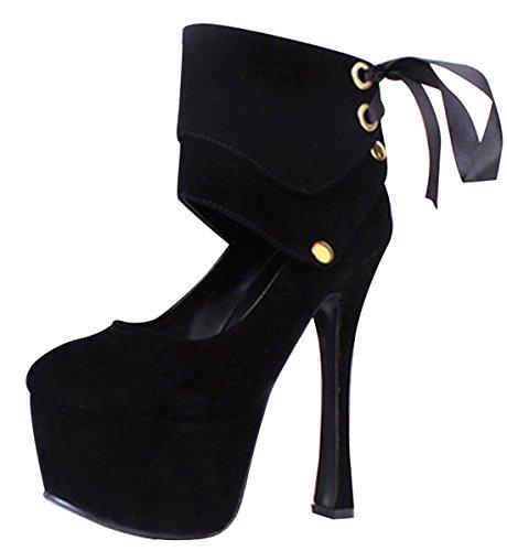 Wotefusi Women Strap Wrap Removable Platform High Heels Stiletto Shoes Boots Black pabGMr
