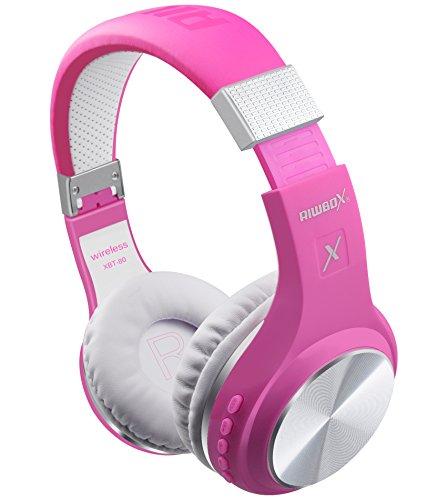 Bluetooth Headphones, Riwbox XBT-80 Wireless Foldable Headset Over Ear Bluetooth Headphones with Microphone and Volume Control for Cellphones iPad iPhone TV Laptop Computer (Purple&White)