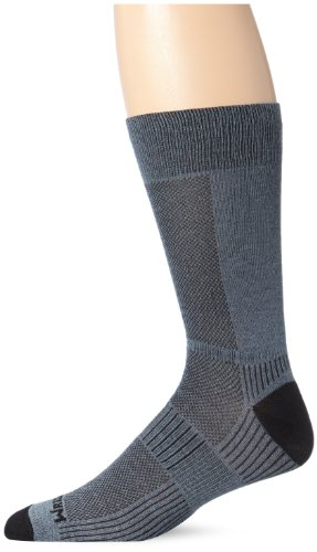 WrightSock Mens Coolmesh II Crew, Grey, Sock Size:10-13/Shoe Size: 6-12