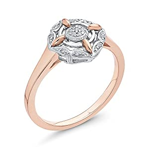 Diamond Fashion Ring in 10K Two Tone Gold (1/20 cttw, Colour GH, Clarity I2-I3) (Size-7.5)