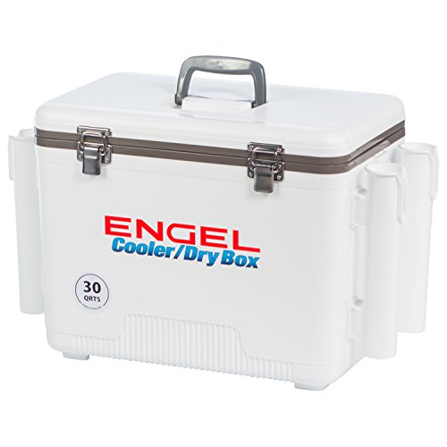 - Engel Cooler/Dry Box 30 Qt with Rod Holders - White