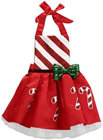 af99fc018f0b8 Christmas Toddler Kids Baby Girl Bow Striped Candy Cane Dress Outfits  Costume