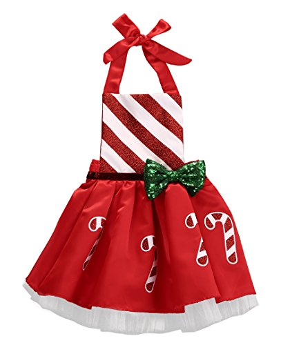 Baby Take A Bow Costume (Christmas Toddler Kids Baby Girl Bow Striped Candy Cane Dress Outfits Costume (12-18 Months, Red))
