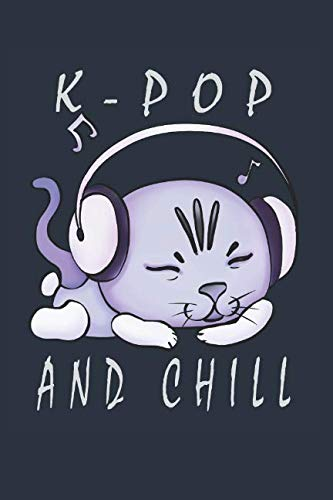 Kpop And Chill: Cute Cat Music Headphone Composition College Notebook and Diary to Write In / 120 Pages of Ruled Lined & Blank Paper / 6