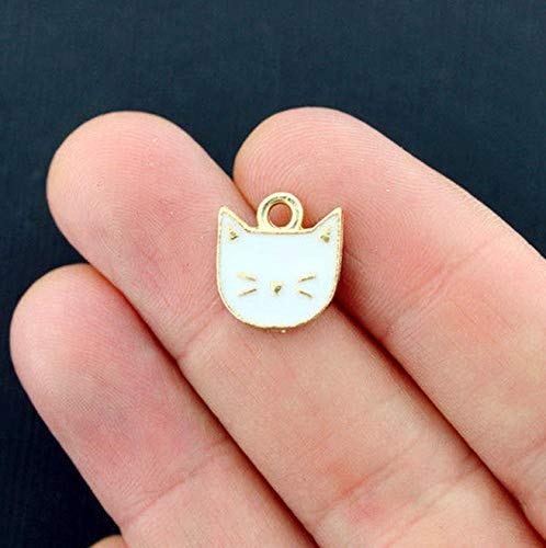 - 4 Cat Charms Gold Tone and White Enamel Adorable Vintage Crafting Pendant Jewelry Making Supplies - DIY for Necklace Bracelet Accessories by CharmingSS