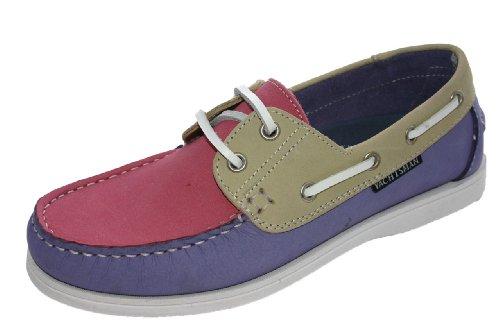 Chaussures bateau en nubuck pour femme Taille 37–41 - - lilac/beige/Berry, 36