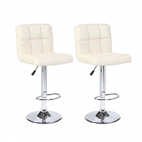 New Set of 2 Bar Stools Leather Adjustable Swivel Pub Chair In Cream