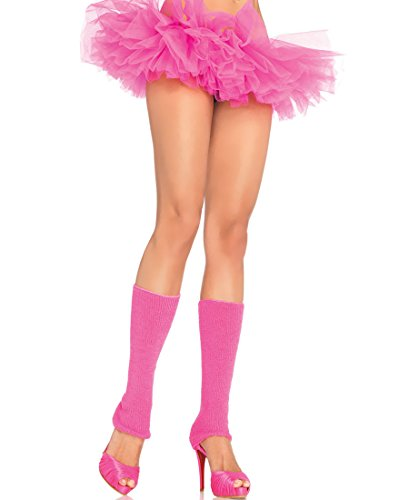 Leg Avenue 3921-NEON-PINK Women's Neon Pink Ribbed Leg Warmers - One Size - Neon Pink
