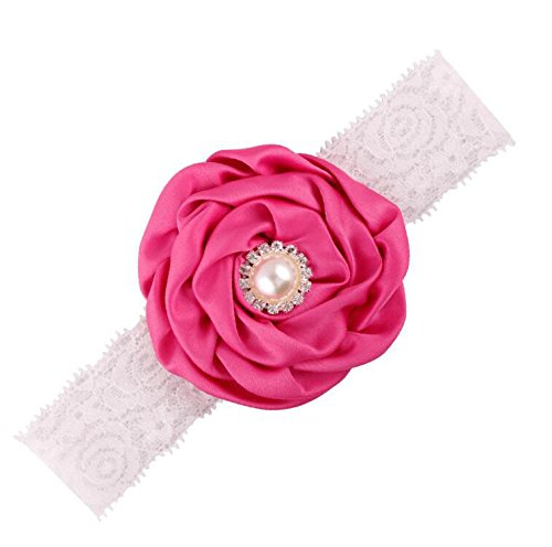 Flower Akaayuko Rouge Girl Lace 1 Faux Hairbands Pearl Baby Pc Rose nw8qaCxwpS