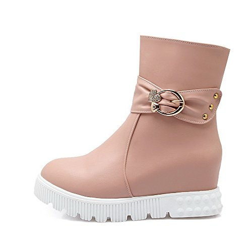 Allhqfashion Dames Pu Mid Top Solide Rits Kitten Hakken Laarzen Roze