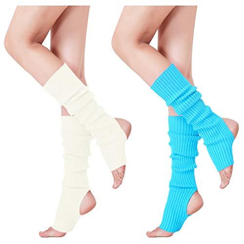 Leg Warmers Acrylic (V28 Women's Neon Knit Leg Warmer for 80s Party Dance Sports Yoga, 48-2(wh+lbu))