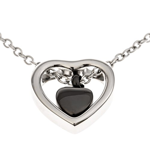 Double Heart Urn Necklace Pendant with Funnel Fill Kit Included, Keepsake Cremation Ashes (Black Heart)